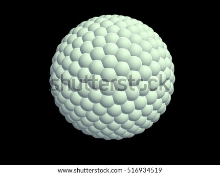 3d illustration. Sphere, strewn with small spheres on black background.