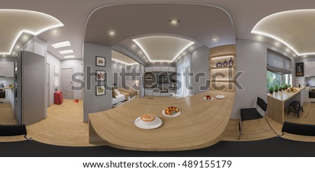 3d Illustration Spherical 360 Degrees Seamless Panorama Of Living Room Interior Design Modern Studio