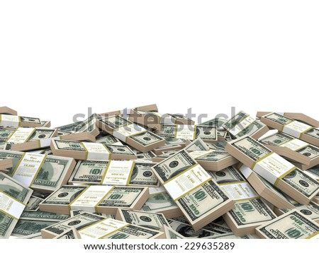 3d illustration stack of dollars heap, over white background, template - stock photo