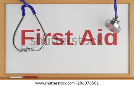 3d illustration. Stethoscope and blackboard with the word first aid. Medicine concept - stock photo