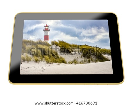 3D Illustration - Tablet with Lighthouse on display - Lighthouse on Sylt, Germany
