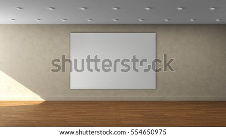 house painting advertisement 3d render empty room laminate flooring stock illustration