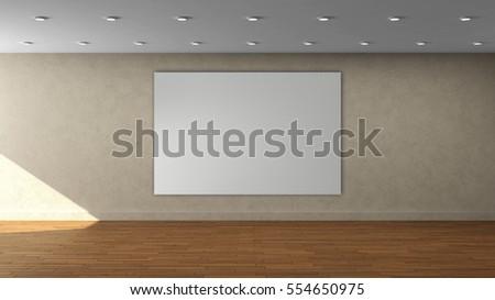 house painting advertisement 3d render empty room laminate flooring stock illustration