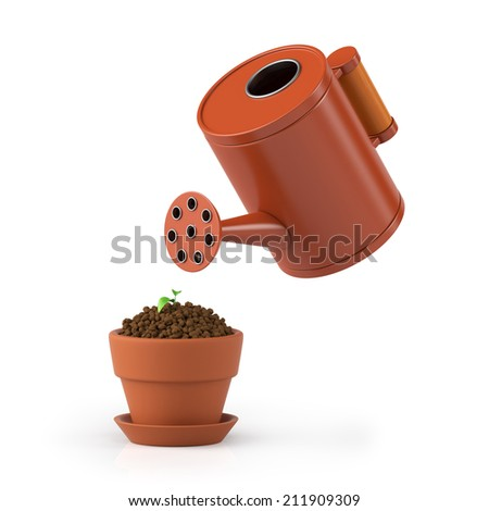 3D illustration. The flower in a pot waters from a watering can on a white background - stock photo
