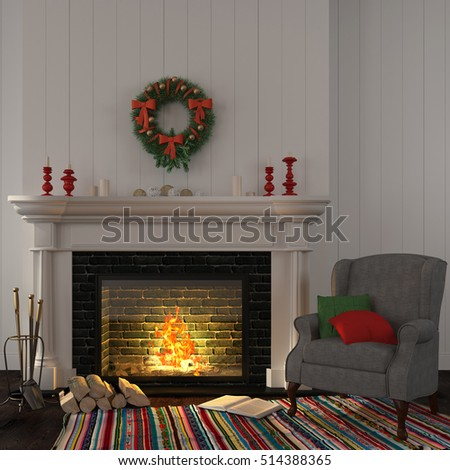 3D illustration. The interior of the living room which is decorated for Christmas with a gray armchair near the fireplace with candles