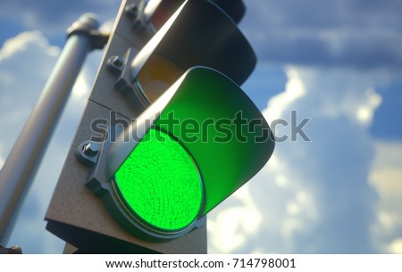 3D illustration. Traffic light with green light on, signal open to go ahead.