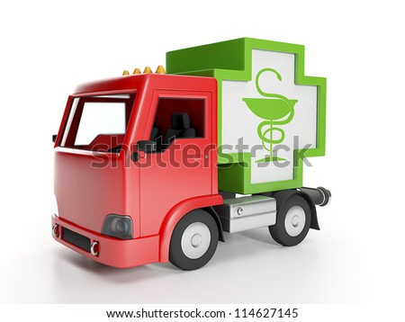 3d illustration: Truck and medicine. Delivery of medical supplies - stock photo