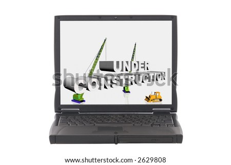 3d illustration, under construction sign,on laptop screen. Web use, designer concept. - stock photo