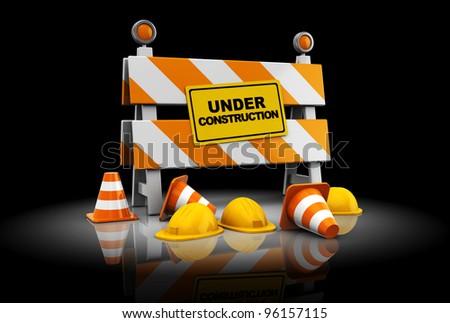 3d illustration under construction sign over black background - stock photo