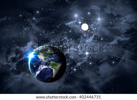 3D Illustration, universe starscape backdrop with colorful space clouds - stock photo