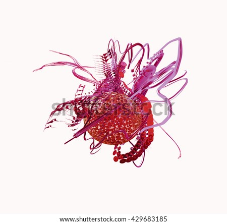 3d illustration Viruses in infected organism, Bacteria disease epidemic - stock photo