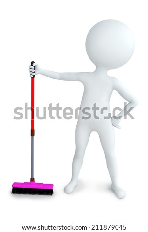 3D illustration white boy with mop