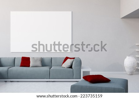 3D Illustration White canvas on wall in living room over the sofa in a loft - stock photo