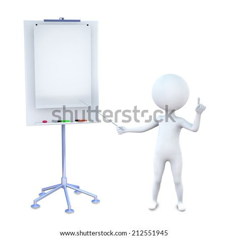 3d illustration white man gives the information at the stand