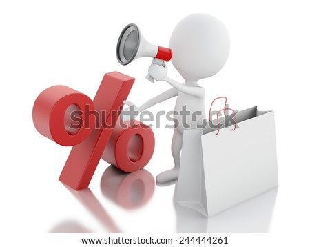 3d illustration. White man sale announcement with megaphone and shopping bag on white background