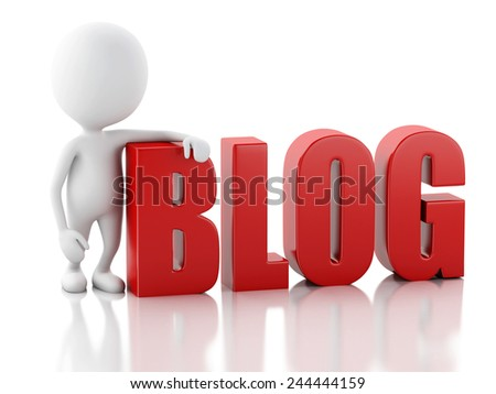 3d illustration. White man with blog sign. News concept on white background