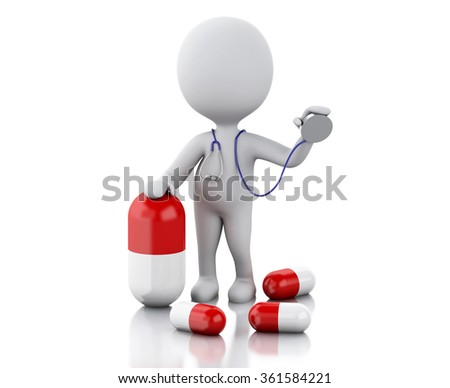 3d illustration. White people doctor with a stethoscope and pills. Medicine concept. Isolated white background