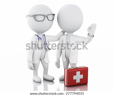 3d illustration. White people doctors with a stethoscope and first aid kit. Isolated white background - stock photo