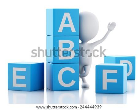 3d illustration. White people with ABC blocks. Isolated on white background. - stock photo