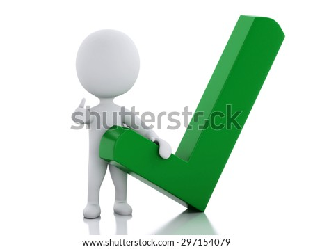3d illustration. White people with check mark. Success concept. Isolated white background