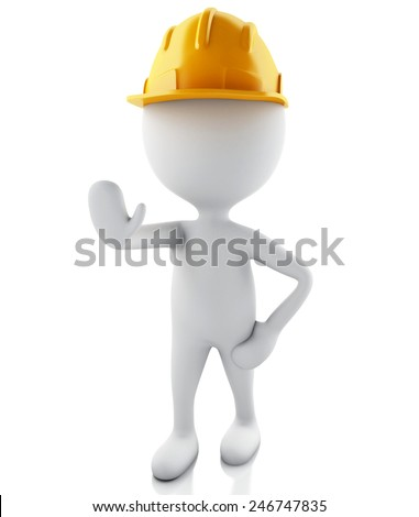 3d illustration. White people with helmet. Isolated white background.