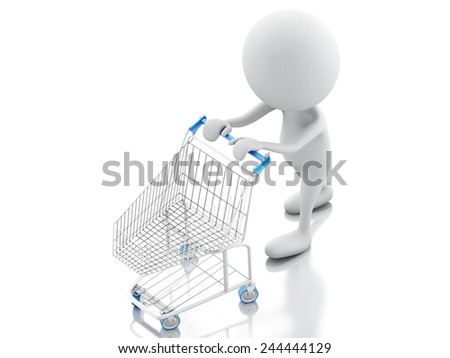3d illustration. White people with shopping cart isolated on white background - stock photo