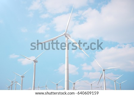 3d illustration, wind turbine with blue sky. Energy and electricity. Alternative energy, eco or green generators. Power, ecology, technology, electricity.