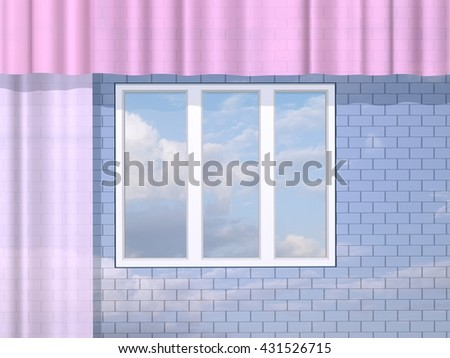 3D illustration. Window, brick wall and clouds. - stock photo