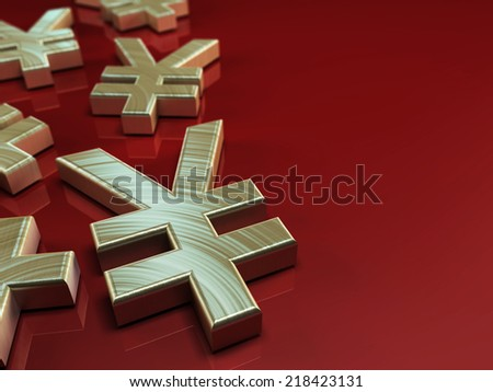 3D illustration with japanese yen symbol on red background - stock photo
