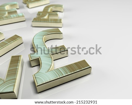 3D illustration with pound sterling symbol on blue background - stock photo