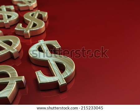 3D illustration with us dollar symbol on red background - stock photo