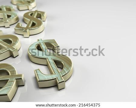 3D illustration with us dollar symbol on white background - stock photo