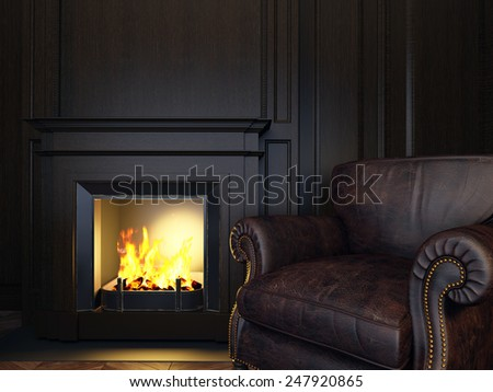 3d illustration wood panels armchair and fireplace