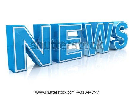 3D illustration word news on white isolated background in the design of the information related to the receipt of information from the Internet. 3d illustration - stock photo