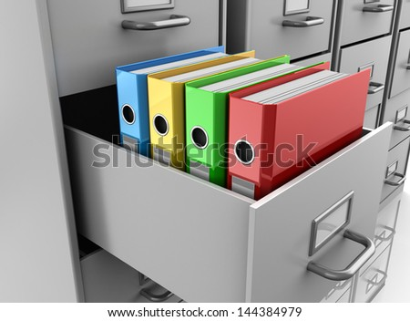 3d illustrations of multicolored binder folders in grey filing cabinet