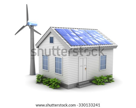 3d illustrtation of house with wind generator and solar panel - stock photo