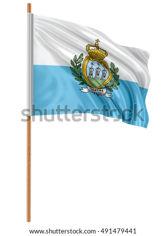 3D Ilustration. 3D flag of San Marino with fabric surface texture. White background.