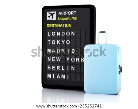 3d ilustration render. airport board and travel suitcases on white background - stock photo