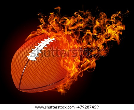 "3D image american football ball in fire isolated on dark red background. ""3D illustration"""