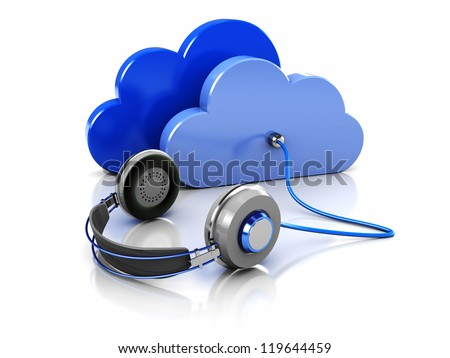 3d image blue clouds with headphone - stock photo