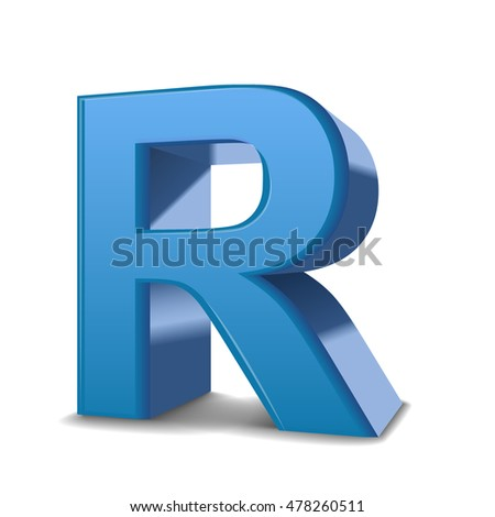 3D image blue letter R isolated on white background
