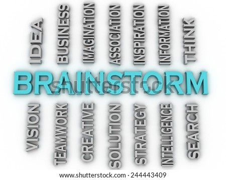 3d image Brainstorm issues concept word cloud background