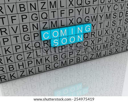 3d image Coming Soon concept text on white background