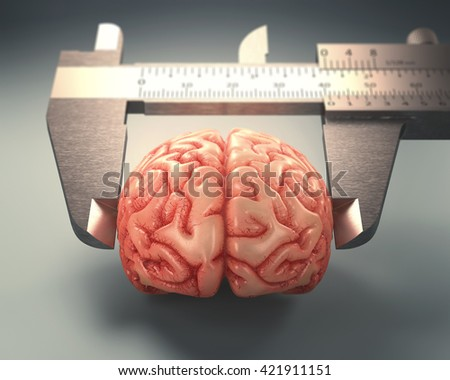3D image concept of a caliper ruler measuring a human brain. It is a concept of the differences of the human mind.