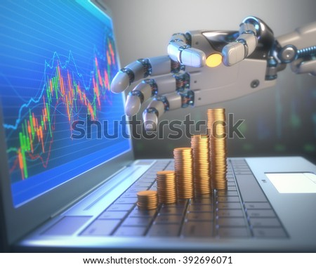 3D image concept of software (Robot Trading System) used in the stock market that automatically submits trades to an exchange without any human interventions. - stock photo