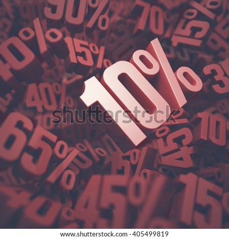 3D image concept of ten percent discount. Clipping path included. - stock photo