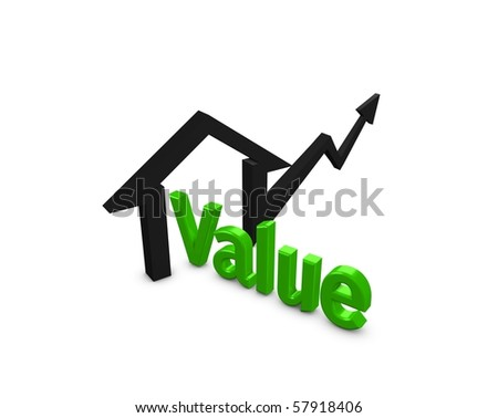 3d image, Concept rising property value, isolated over white background - stock photo