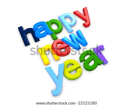 3d image, conceptual colorful new year text