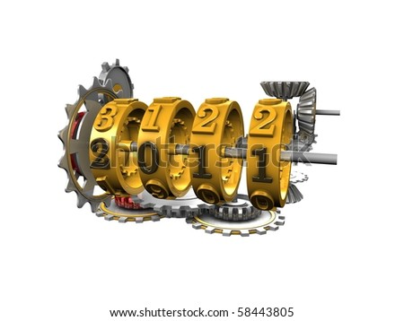 3d image, Conceptual mechanical year counter, new year 2011 - stock photo