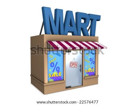 3d image, conceptual mini mart - stock photo